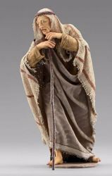 Picture of Standing Shepherd with stick cm 12 (4,7 inch) Immanuel dressed Nativity Scene oriental style Val Gardena wood statue fabric clothes