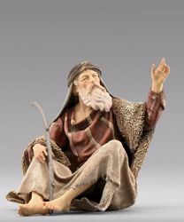 Picture of Shepherd sitting cm 12 (4,7 inch) Immanuel dressed Nativity Scene oriental style Val Gardena wood statue fabric clothes