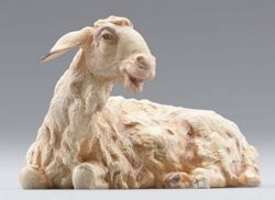 Picture of Sheep lying cm 12 (4,7 inch) Immanuel dressed Nativity Scene oriental style Val Gardena wood statue