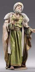 Picture of Melchior Saracen Wise King standing cm 12 (4,7 inch) Immanuel dressed Nativity Scene oriental style Val Gardena wood statue fabric clothes