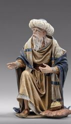 Picture of Melchior Saracen Wise King kneeling cm 12 (4,7 inch) Immanuel dressed Nativity Scene oriental style Val Gardena wood statue fabric clothes