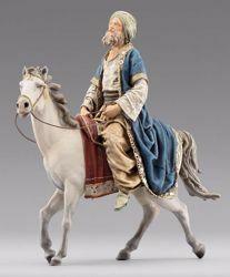 Imagen de Rey Mago a caballo cm 12 (4,7 inch) Pesebre vestido Immanuel estilo oriental estatua en madera Val Gardena trajes de tela