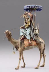 Imagen de Rey Mago en camello con baldaquino cm 12 (4,7 inch) Pesebre vestido Immanuel estilo oriental estatua en madera Val Gardena trajes de tela