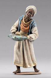 Picture of Servant of the Three Kings cm 12 (4,7 inch) Immanuel dressed Nativity Scene oriental style Val Gardena wood statue fabric clothes
