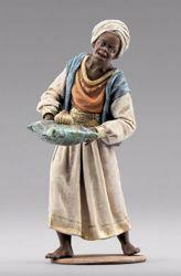 Imagen de Paje de los Reyes Magos cm 12 (4,7 inch) Pesebre vestido Immanuel estilo oriental estatua en madera Val Gardena trajes de tela