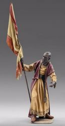 Picture of Servant of the Three Kings with flag cm 12 (4,7 inch) Immanuel dressed Nativity Scene oriental style Val Gardena wood statue fabric clothes
