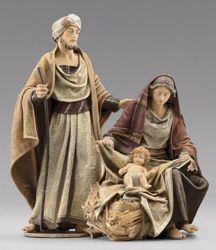 Picture of Holy Family (1) Group 2 pieces cm 12 (4,7 inch) Immanuel dressed Nativity Scene oriental style Val Gardena wood statues fabric clothes