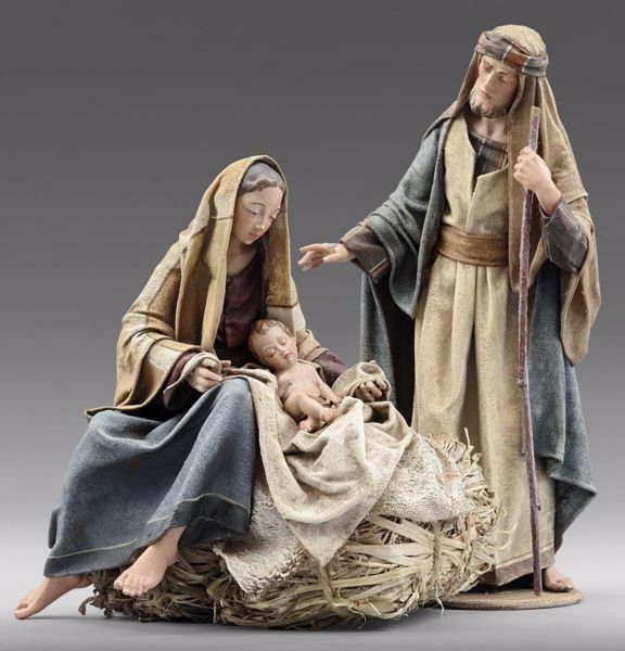 Immagine di Sacra Famiglia (2) Gruppo 2 pezzi cm 12 (4,7 inch) Presepe vestito Immanuel stile orientale statue in legno Val Gardena abiti in stoffa