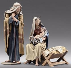Picture of Holy Family (3) Group 3 pieces cm 12 (4,7 inch) Immanuel dressed Nativity Scene oriental style Val Gardena wood statues fabric clothes