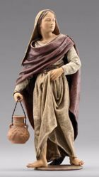 Picture of Standing Woman with jug cm 12 (4,7 inch) Immanuel dressed Nativity Scene oriental style Val Gardena wood statue fabric clothes