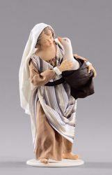 Picture of Girl with goose cm 55 (21,7 inch) Hannah Orient dressed nativity scene Val Gardena wood statue with fabric dresses