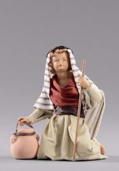 Picture of Kneeling Child with Jug cm 55 (21,7 inch) Hannah Orient dressed nativity scene Val Gardena wood statue with fabric dresses