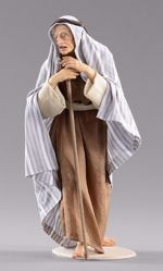 Picture of Elderly Shepherd with stick cm 55 (21,7 inch) Hannah Orient dressed nativity scene Val Gardena wood statue with fabric dresses