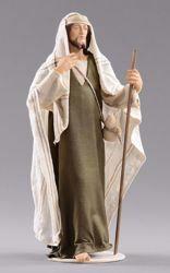 Imagen de Pastor con bastón cm 55 (21,7 inch) Pesebre vestido Hannah Orient estatua en madera Val Gardena con trajes de tela