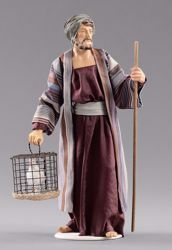 Picture of Shepherd with dove cm 55 (21,7 inch) Hannah Orient dressed nativity scene Val Gardena wood statue with fabric dresses