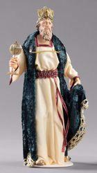 Imagen de Gaspar Rey Mago Blanco cm 55 (21,7 inch) Pesebre vestido Hannah Orient estatua en madera Val Gardena con trajes de tela