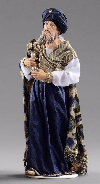 Picture of Caspar White Wise King cm 55 (21,7 inch) Hannah Orient dressed nativity scene Val Gardena wood statue with fabric dresses