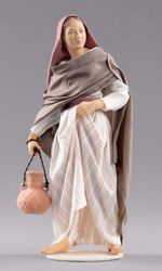 Picture of Woman with Jug cm 55 (21,7 inch) Hannah Orient dressed nativity scene Val Gardena wood statue with fabric dresses