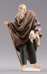 Picture of Elderly Shepherd with lamb cm 55 (21,7 inch) Hannah Alpin dressed nativity scene Val Gardena wood statue fabric dresses