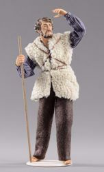Picture of Shepherd looking cm 55 (21,7 inch) Hannah Alpin dressed nativity scene Val Gardena wood statue fabric dresses