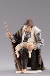 Picture of Kneeling Shepherd with lamb cm 55 (21,7 inch) Hannah Alpin dressed nativity scene Val Gardena wood statue fabric dresses