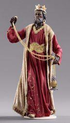Imagen de Baltasar Rey Mago Negro cm 55 (21,7 inch) Pesebre vestido Hannah Alpin estatua en madera Val Gardena trajes de tela