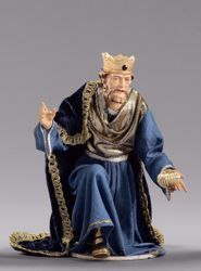 Imagen de Melchor Rey Mago Sarraceno arrodillado  cm 55 (21,7 inch) Pesebre vestido Hannah Alpin estatua en madera Val Gardena trajes de tela