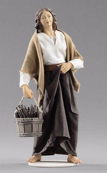 Immagine di Donna con legna cm 55 (21,7 inch) Presepe vestito Hannah Alpin statua in legno Val Gardena abiti in tessuto