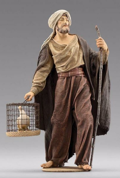 Picture of Shepherd with dove cm 55 (21,7 inch) Immanuel dressed Nativity Scene oriental style Val Gardena wood statue fabric clothes