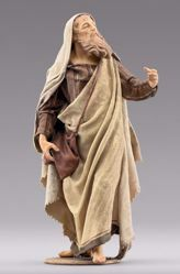 Picture of Shepherd with bag cm 55 (21,7 inch) Immanuel dressed Nativity Scene oriental style Val Gardena wood statue fabric clothes