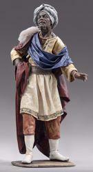 Imagen de Baltasar Rey Mago Negro de pie cm 55 (21,7 inch) Pesebre vestido Immanuel estilo oriental estatua en madera Val Gardena trajes de tela