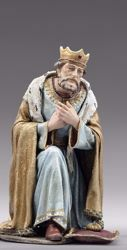 Picture of Caspar White Wise King kneeling cm 55 (21,7 inch) Immanuel dressed Nativity Scene oriental style Val Gardena wood statue fabric clothes
