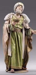 Imagen de Melchor Rey Mago Sarraceno de pie cm 55 (21,7 inch) Pesebre vestido Immanuel estilo oriental estatua en madera Val Gardena trajes de tela