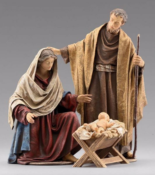 Immagine di Sacra Famiglia (4) Gruppo 3 pezzi cm 55 (21,7 inch) Presepe vestito Immanuel stile orientale statue in legno Val Gardena abiti in stoffa