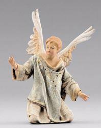 Imagen de Pequeño Ángel arrodillado cm 40 (15,7 inch) Pesebre vestido Immanuel estilo oriental estatua en madera Val Gardena trajes de tela