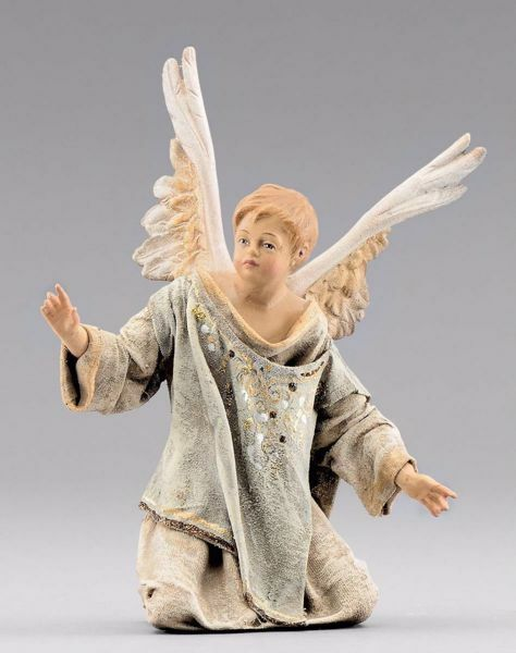 Picture of Kneeling Little Angel  cm 40 (15,7 inch) Immanuel dressed Nativity Scene oriental style Val Gardena wood statue fabric clothes