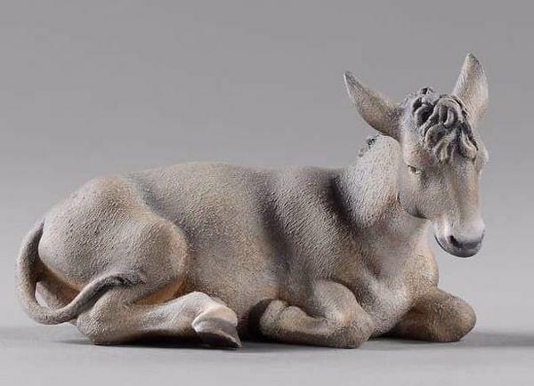 Picture of Donkey lying cm 40 (15,7 inch) Immanuel dressed Nativity Scene oriental style Val Gardena wood statue