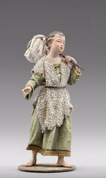 Imagen de Niño con bastón cm 40 (15,7 inch) Pesebre vestido Immanuel estilo oriental estatua en madera Val Gardena trajes de tela