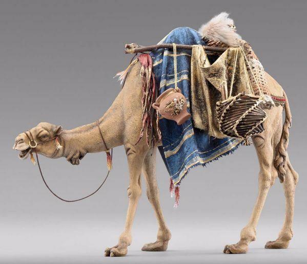 Imagen de Camello con silla cm 40 (15,7 inch) Pesebre vestido Immanuel estilo oriental estatua en madera Val Gardena