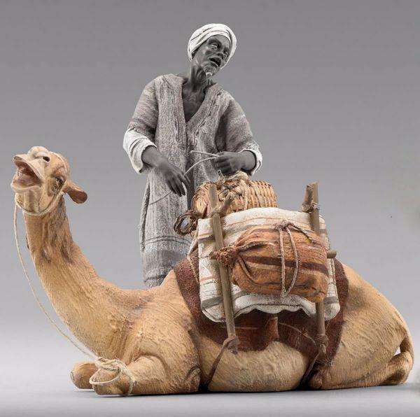 Imagen de Camello acostado cm 40 (15,7 inch) Pesebre vestido Immanuel estilo oriental estatua en madera Val Gardena