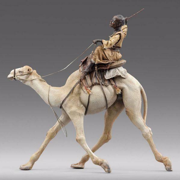 Imagen de Camellero moro en Camello cm 40 (15,7 inch) Pesebre vestido Immanuel estilo oriental estatua en madera Val Gardena trajes de tela