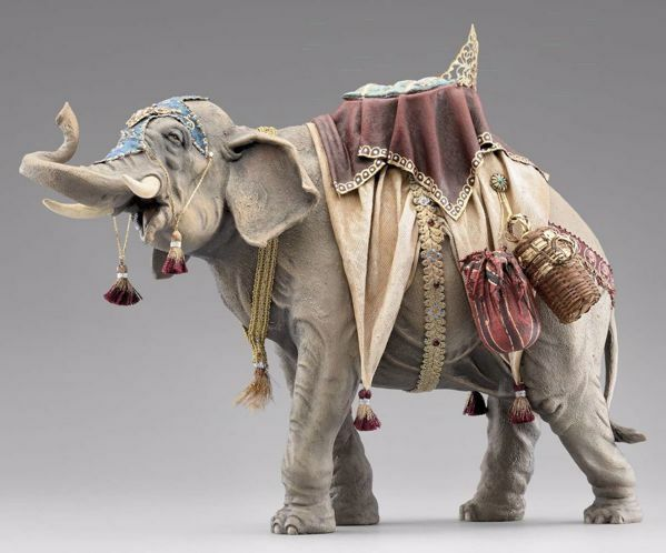 Picture of Standing Elephant with saddle cm 40 (15,7 inch) Immanuel dressed Nativity Scene oriental style Val Gardena wood statue