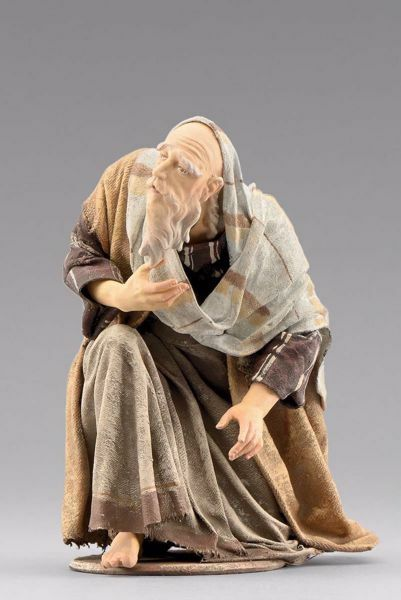 Picture of Elderly Shepherd kneeling cm 40 (15,7 inch) Immanuel dressed Nativity Scene oriental style Val Gardena wood statue fabric clothes