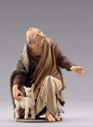 Picture of Kneeling Shepherd with lamb cm 40 (15,7 inch) Immanuel dressed Nativity Scene oriental style Val Gardena wood statue fabric clothes