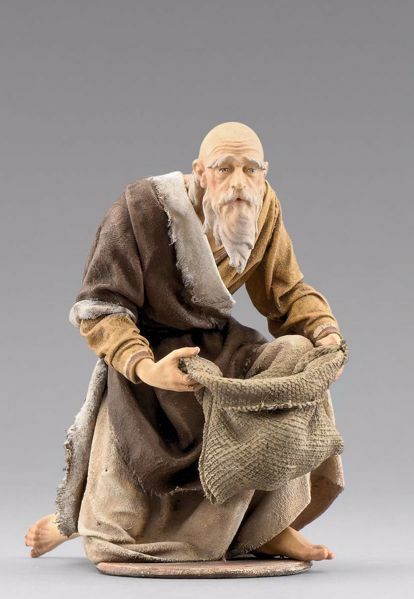 Picture of Kneeling Shepherd with bag cm 40 (15,7 inch) Immanuel dressed Nativity Scene oriental style Val Gardena wood statue fabric clothes