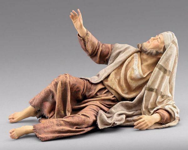Immagine di Pastore sdraiato cm 40 (15,7 inch) Presepe vestito Immanuel stile orientale statua in legno Val Gardena abiti in stoffa