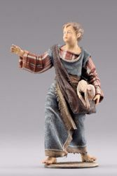 Picture of Shepherd boy with lamb  cm 40 (15,7 inch) Immanuel dressed Nativity Scene oriental style Val Gardena wood statue fabric clothes