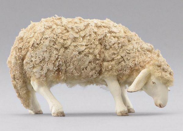Imagen de Oveja con lana que come cm 40 (15,7 inch) Pesebre vestido Immanuel estilo oriental estatua en madera Val Gardena