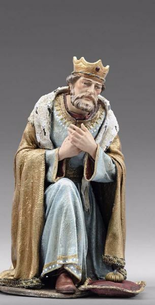 Picture of Caspar White Wise King kneeling cm 40 (15,7 inch) Immanuel dressed Nativity Scene oriental style Val Gardena wood statue fabric clothes