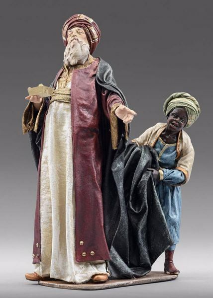 Picture of Wise King with Servant cm 40 (15,7 inch) Immanuel dressed Nativity Scene oriental style Val Gardena wood statue fabric clothes